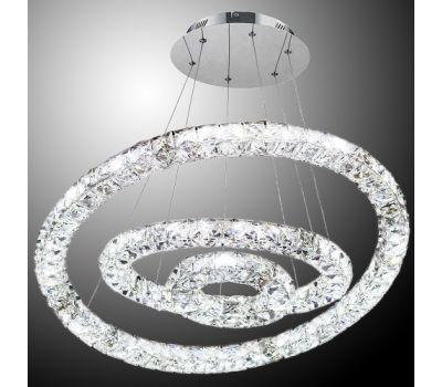 Люстра Crystal led 56w, 3 кольца 200/400/600, 3 ряда кристалов + пульт ДУ
