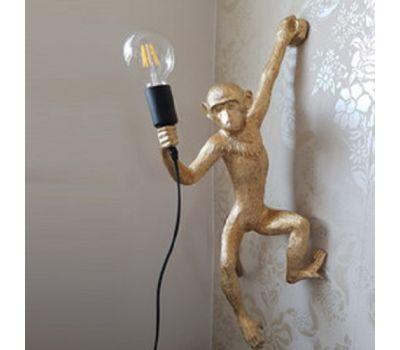 Настенный светильник-бра Обезьянка с лампой золотая