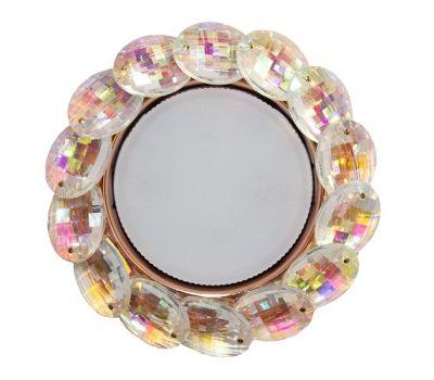 Точечный светильник GX53H4 круглый с большими декоративными хрусталиками (искристое золото)