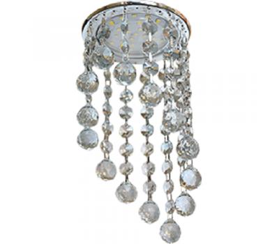 """Точечный светильник GX53H4 круглый с большими декоративными хрусталиками на подвесе """"под скос"""" (тонированный хром)"""